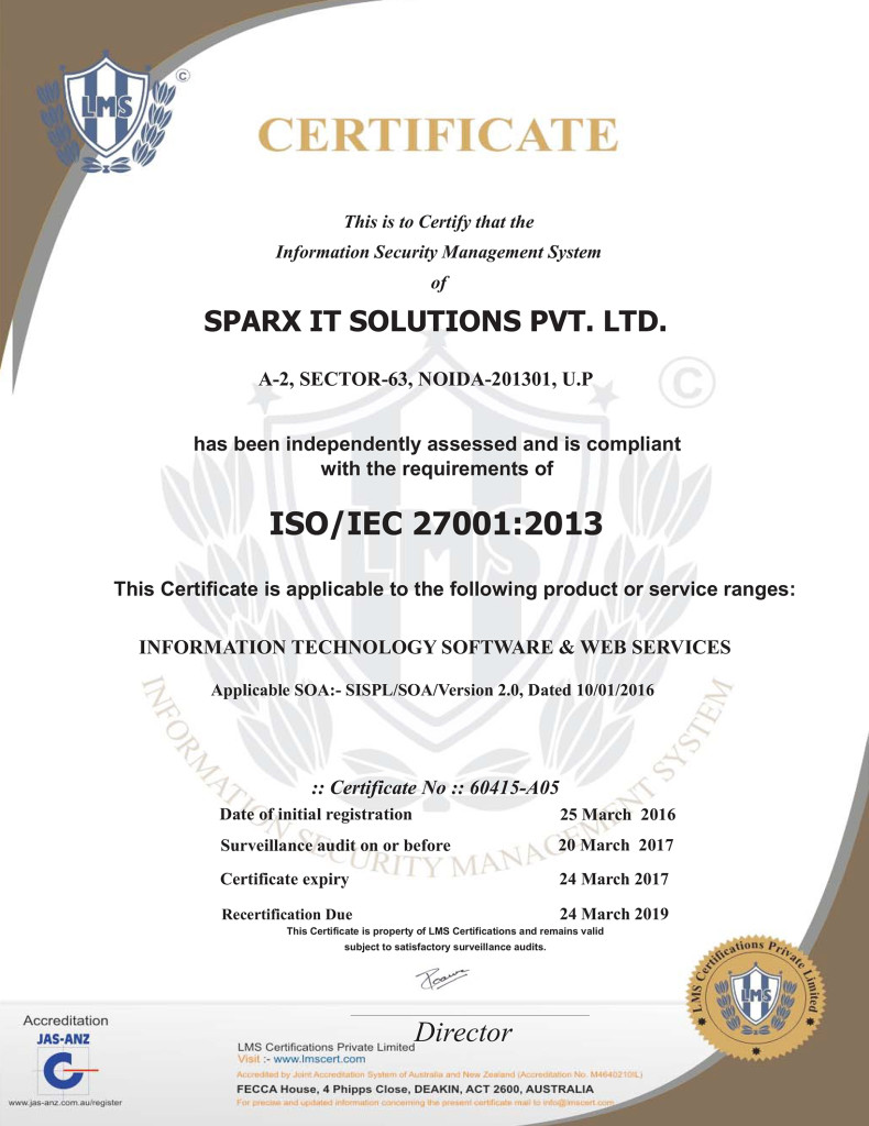 Sparx IT Solutions ISO 27001:2013