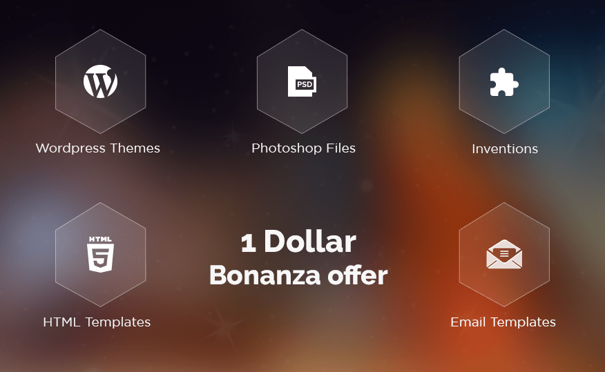$1 Bonanza By theem'on: Grab WordPress Themes, HTML & Email templates, PSD files and Plugins @ 1 USD