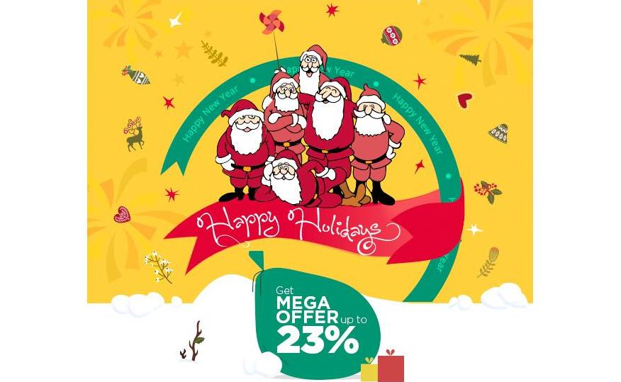 GRAB MEGA DISCOUNT PLUS 5% CASHBACK ON FESTIVITY OF NEW YEAR & X-MAS