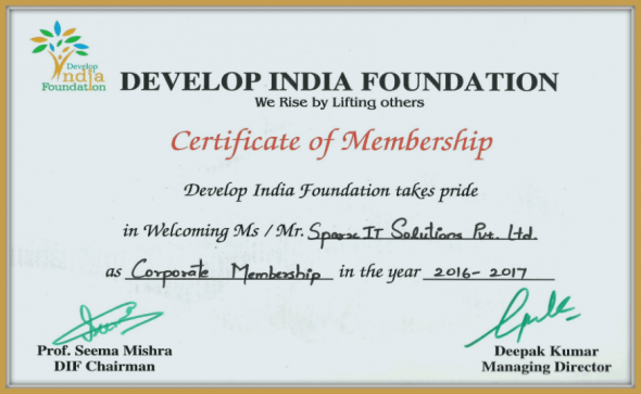 Rewarded With Develop India Foundation Certification