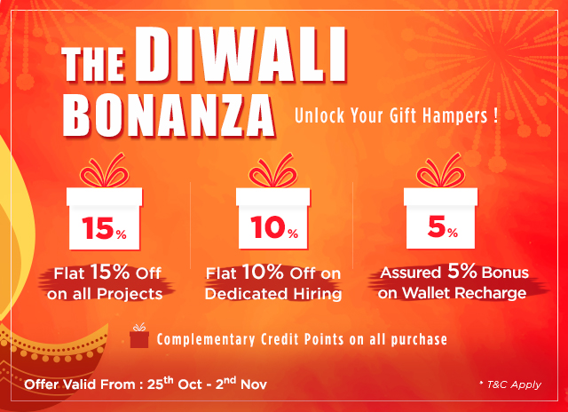 Diwali Bonanza 2018 kicks off on all Web development and dedicated Projects